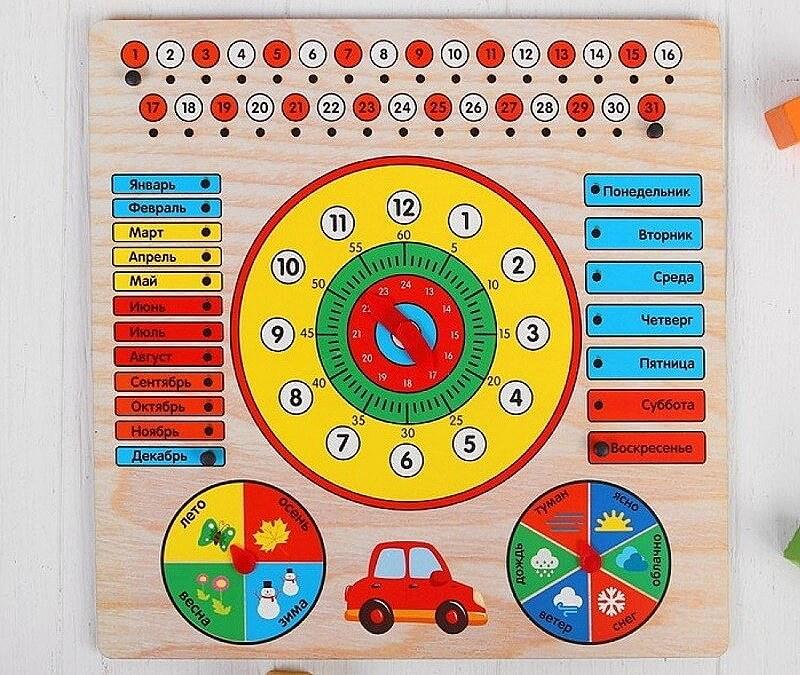 """Развивающие игры - Бизиборд Обучающая доска """"Календарь с часами: Машинка"""""""